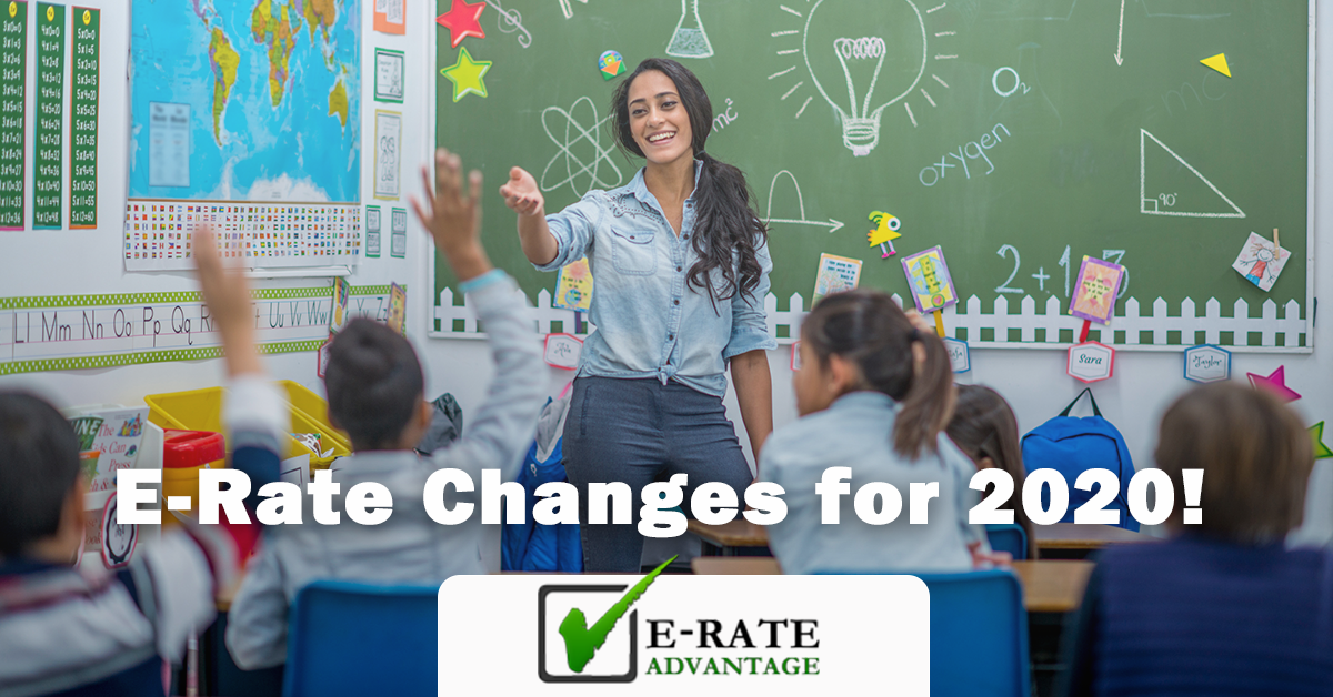 e-rate changes 2020 - teacher in classroom with kids